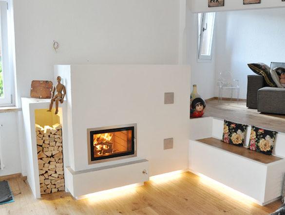 Linea moderna - stufa a legna moderna con porta vetro illuminazione led